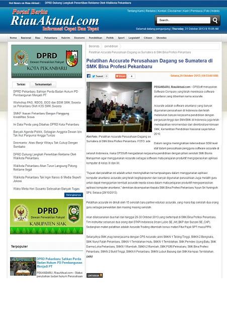 Berita Pelatihan Accurate_Riau Aktual_29 Okt 2013